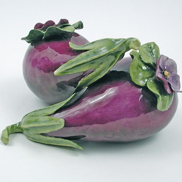 Beautiful hand-painted porcelain fruits and vegetables by Boston porcelain artist Katherine Houston.