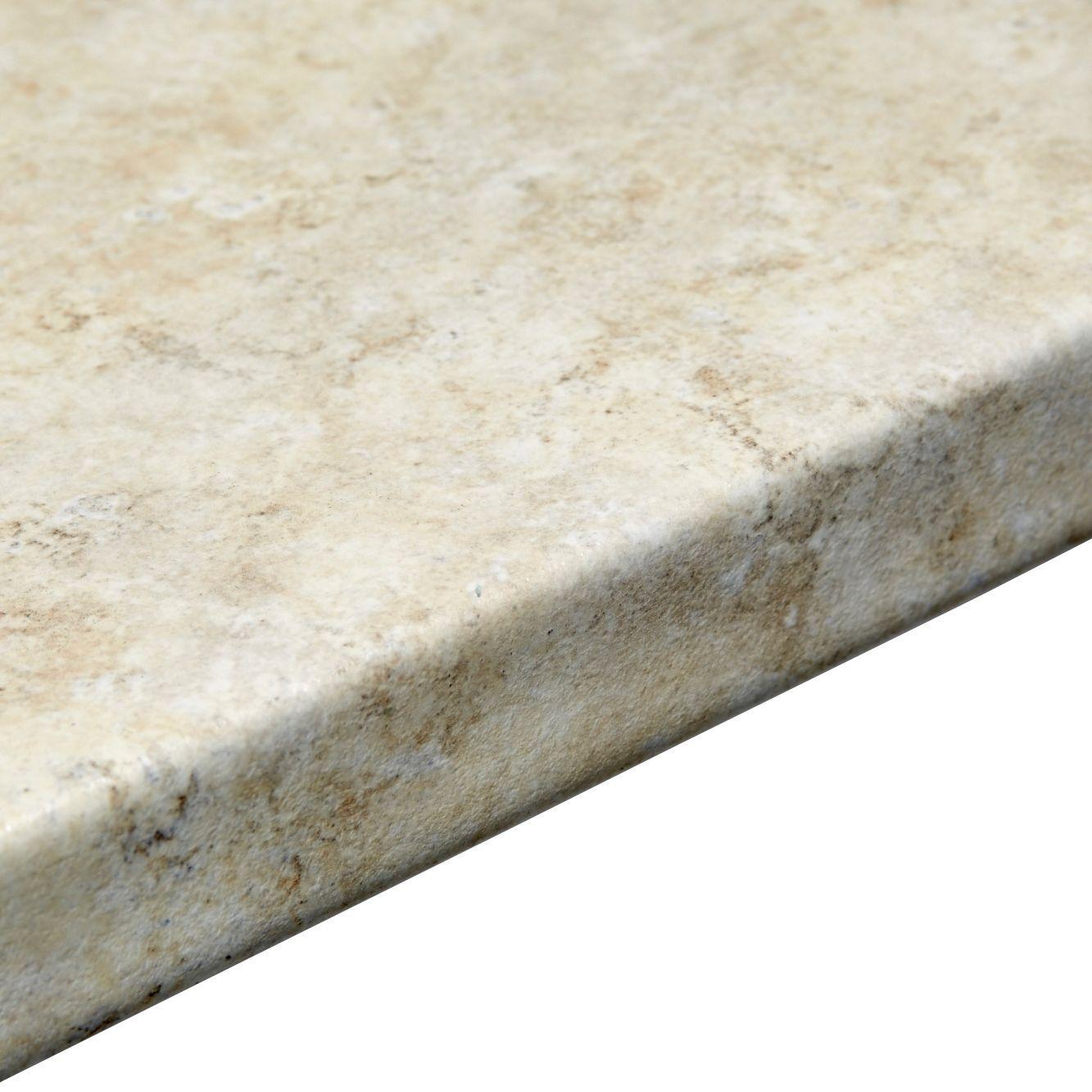 Bq Ceramic Kitchen Floor Tiles 38mm White Cashmere Laminate Round Edge Kitchen Worktop L3600mm