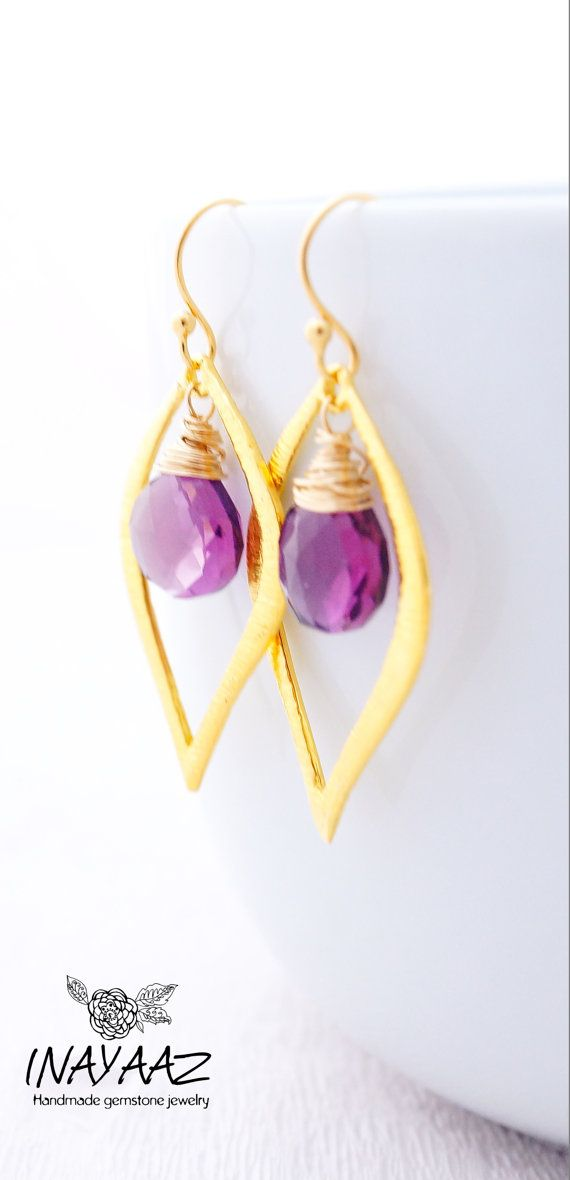 Kunzite Violet Quartz  In 14K Gold Fill And Lotus Leaf by INAYAAZ, $45.20