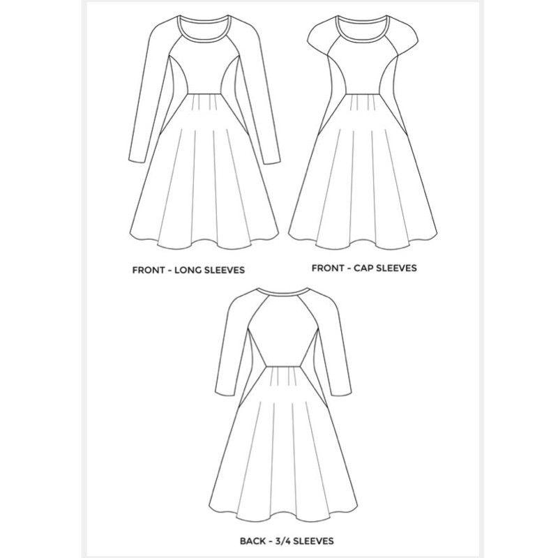 Asta jersey dress womens PDF sewing pattern size 0-16 / 30-46