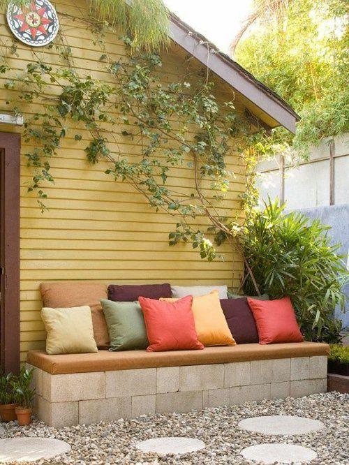 Gartenbank selber bauen Anleitung beton unterseite kissen Garten