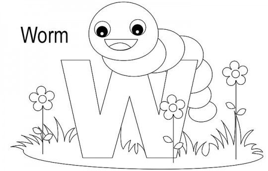 47++ W is for worm coloring page free download