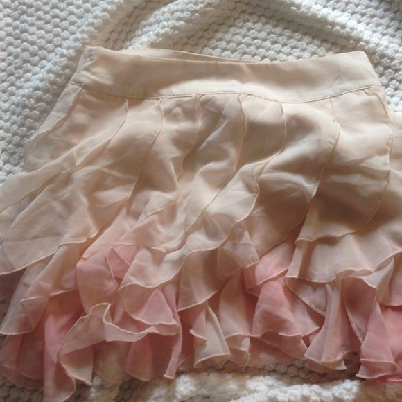 Pink cream ombré ruffle skirt From forever 21, only worn once, super cute and girly, there is a little bit of a stain on front, but nothing some shout can't fix-almost unnoticeable. Good quality soft material Forever 21 Skirts