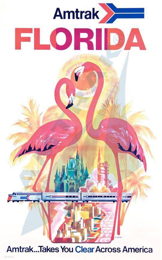 Amtrak Poster Florida Beautiful Vintage Travel Posters Travel Posters Vintage Travel