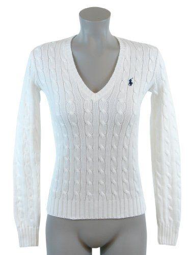 7356e254d Ralph Lauren Sport Women Pony Logo Cable Knit V-neck Sweater