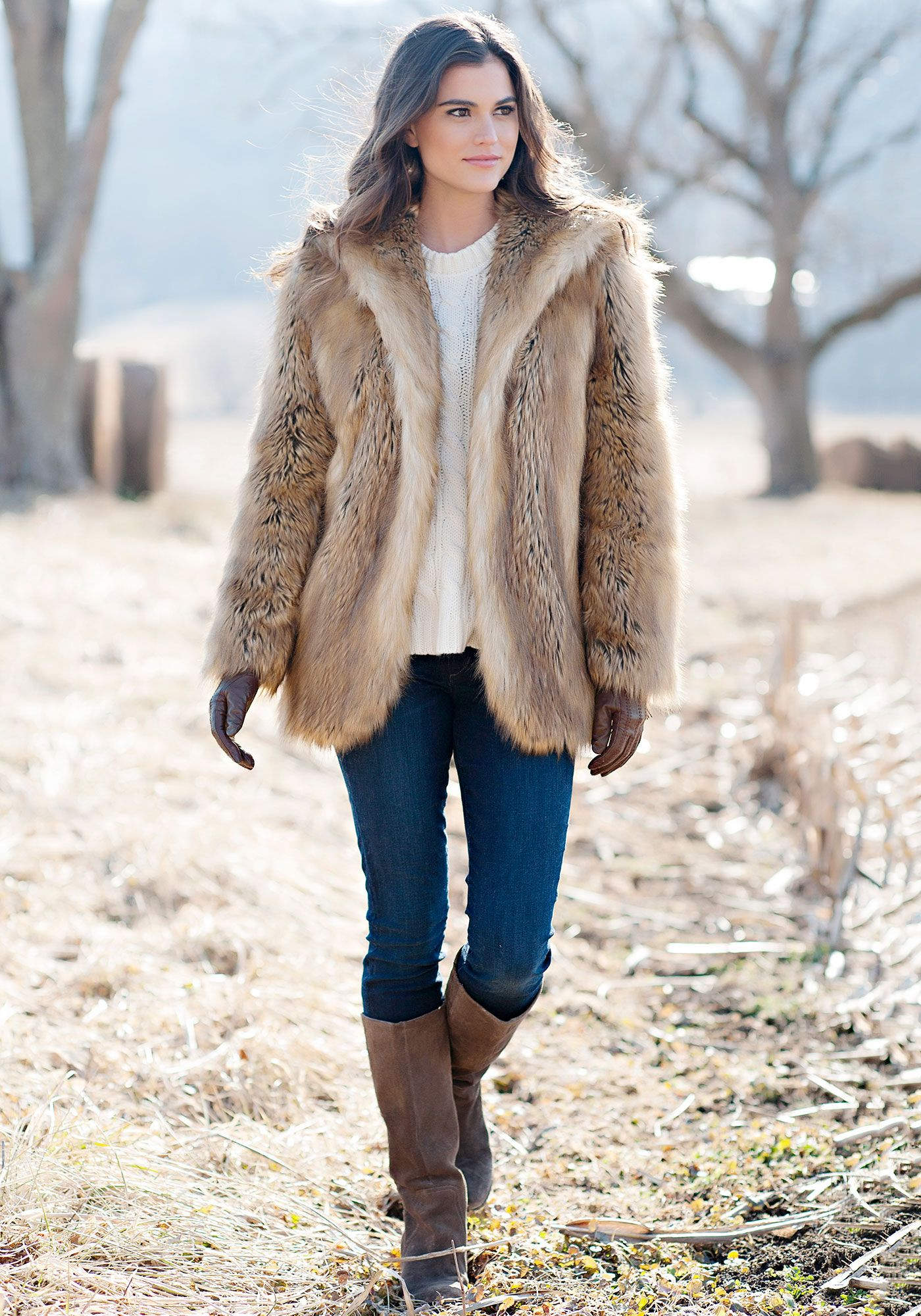 Gold Fox Hooded Faux Fur Jacket Hooded faux, Faux fur