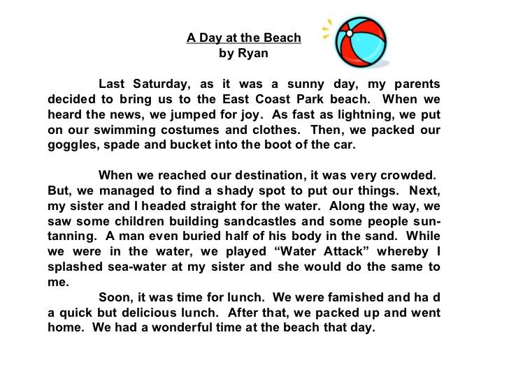 A Day At The Beach Essay For Grade 2 Google Search Free Resume Descriptive Description