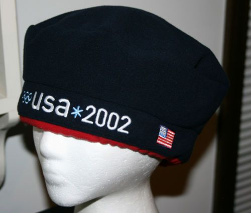 3ee82bd5f13 Vintage 2002 USA Winter Olympic Team Roots Fleece Beret Hat Cap-Adult  size Flag