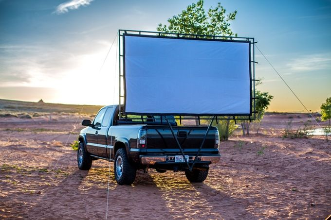 Turn Your Car Into A Mobile Drive In Theater Movie Screen Outdoor Movie Screen Drive In Movie Theater