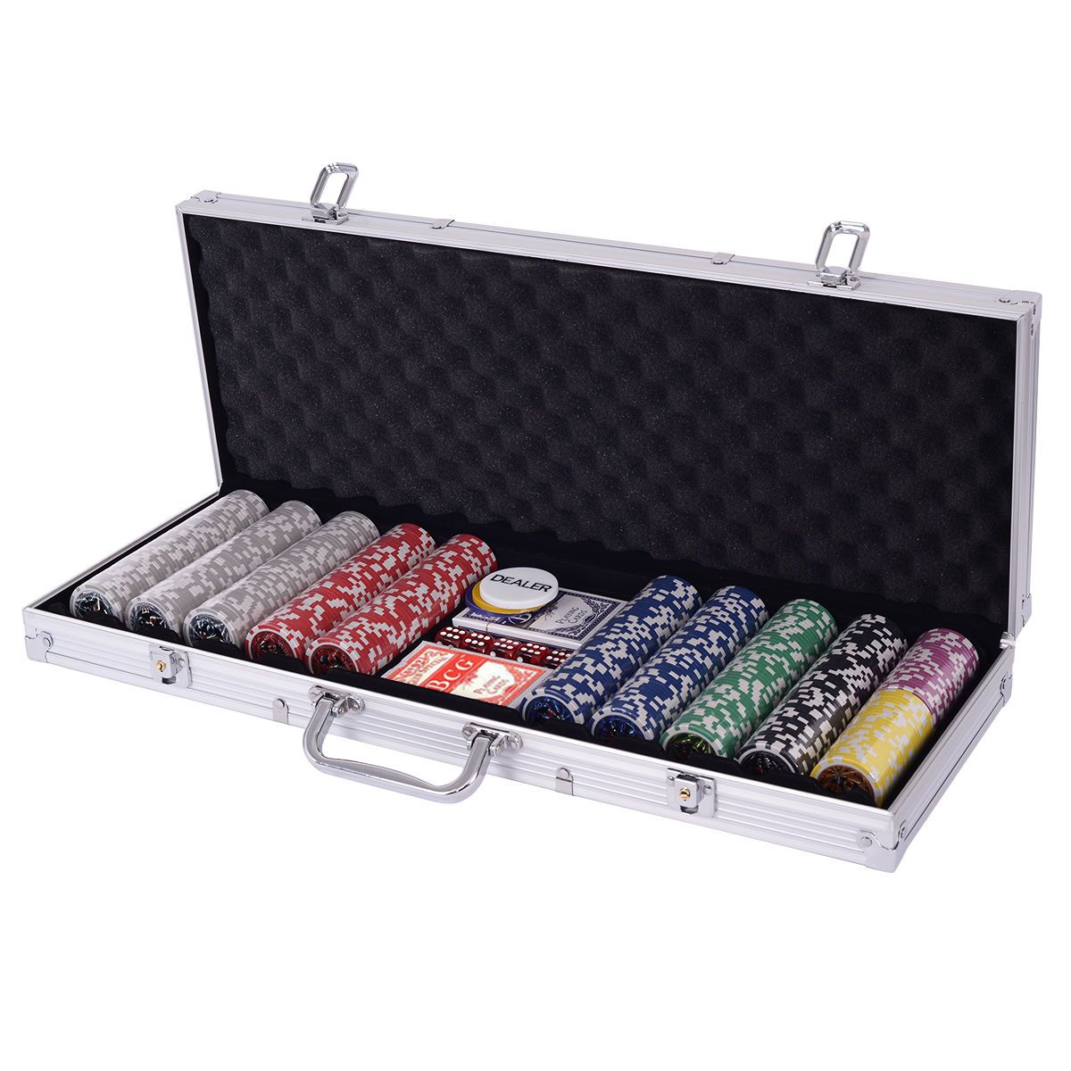 Texas Holdem Cards with 500 Jetton and Dice in Aluminum