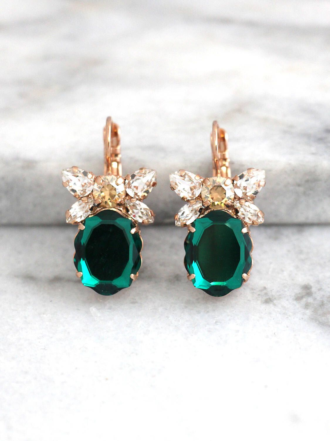 Emerald Earrings Bridal Drop Swarovski Dangle Green Crystal Bridesmaids