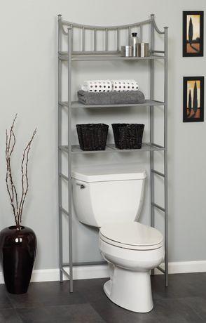 Hometrends Medina Metal Spacesaver 3 Shelf Satin Nickel Walmart Ca Shelves Bathroom Shelf Decor Bathroom Shelves
