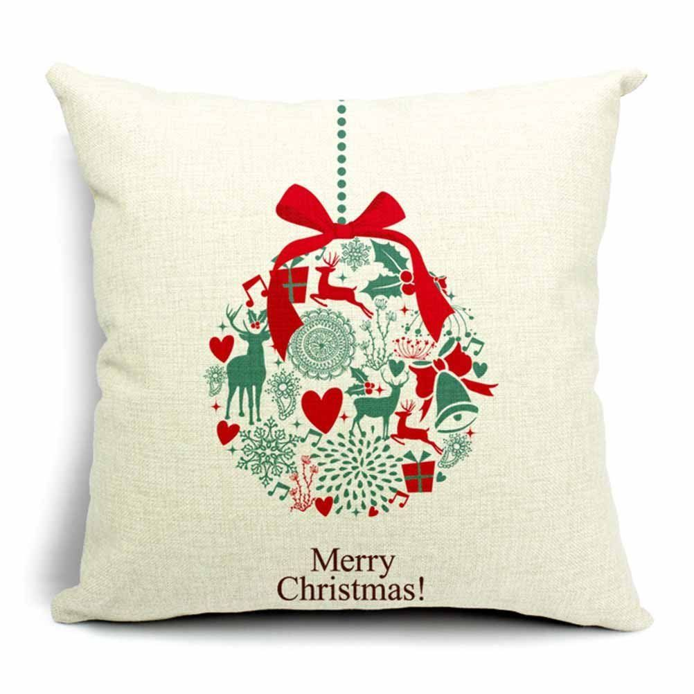 Merry Christmas Snow Small Bell Cotton Linen Throw Pillow Case Cushion Cover Home Sofa Decorative 18 X 18 Inch