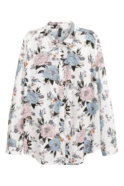 Wiskozowa Koszula Bialy Kwiaty Ona H M Pl Boho Shirts Loose Casual Shirt Curved Hem Shirt