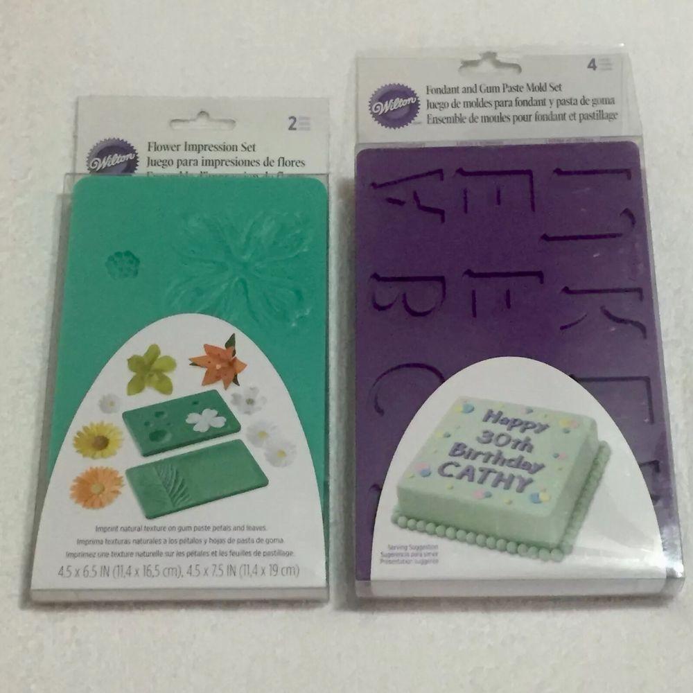 Wilton Fondant Gum Paste Silicone Mold Set Letters Numbers Flower Impressions | eBay