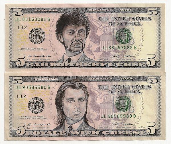 Celebrity faces on dollar bills