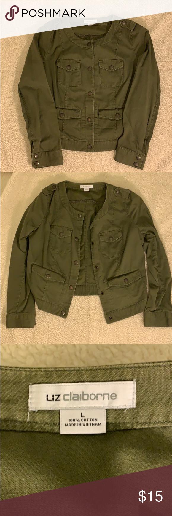 Liz Claiborne Jacket Green Jacket Liz Claiborne Jackets Coats Jackets Clothes Design Claiborne [ 1740 x 580 Pixel ]