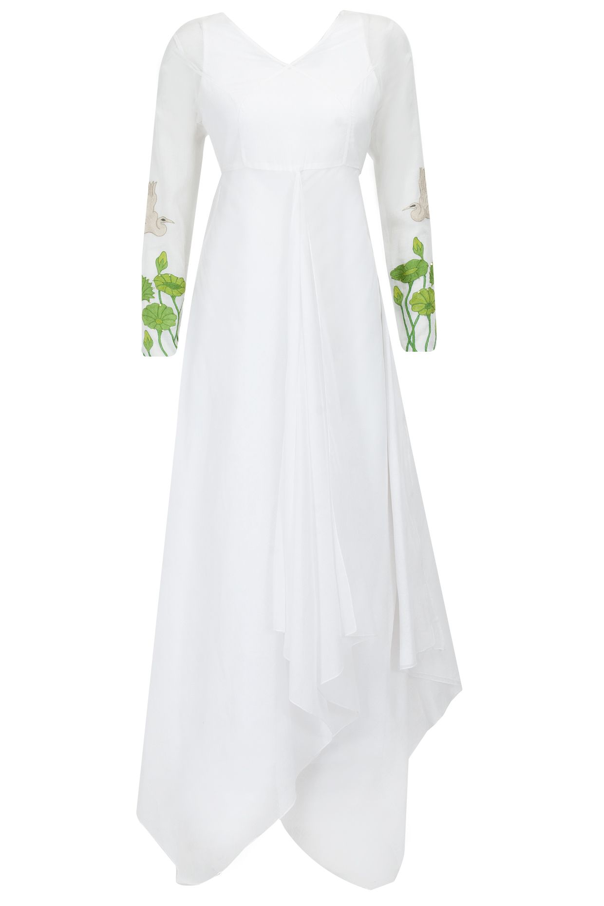 White embroidered sleeves floor length draped dress available only ...