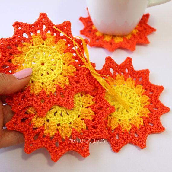 Crochet Coasters Colorful Coasters Crochet by CrochetedByLyubava