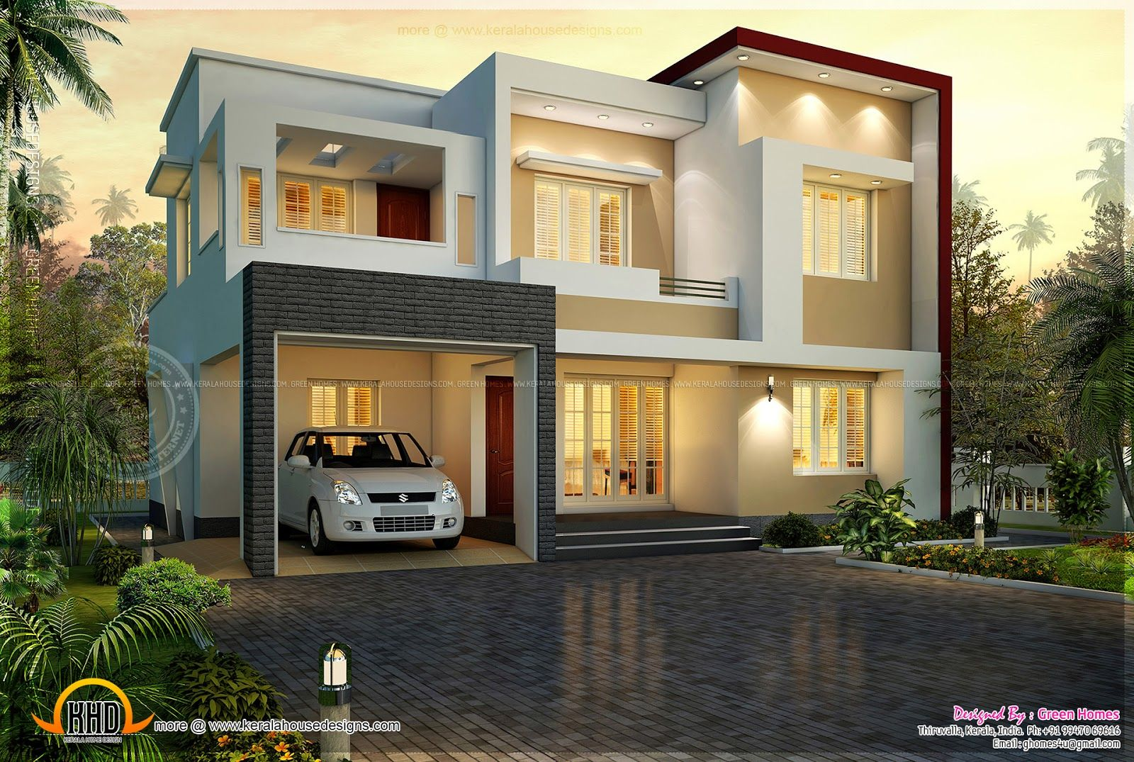 Modern Double Storey Houses Flat Roof House Sq Feet Flat Roof Contemporary Home Design