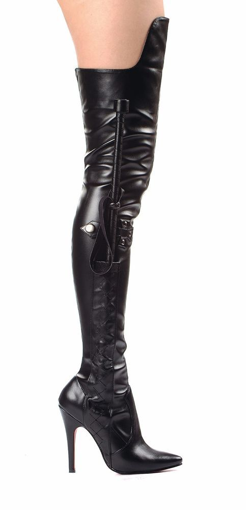 fe962019f61 Sexy Black Thigh High Boots Whip Knee Flap Inner Zipper 5