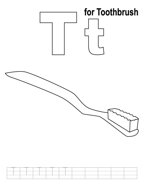 T For Toothbrush Coloring Page With Handwriting Practice Kids