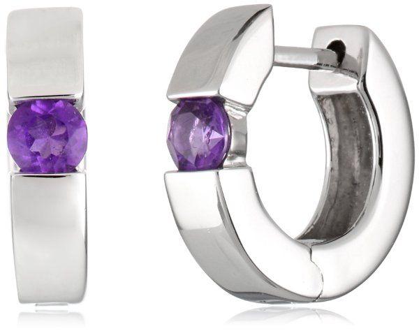 Sterling Silver Round Gemstone Hoop Earrings (1/2 cttw)