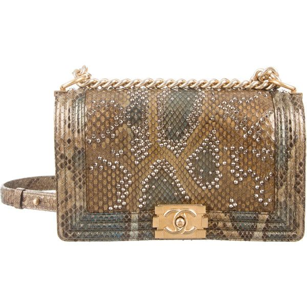 cbde15b67760 Chanel Medium Versailles Python Boy Bag ($8,000) ❤ liked on Polyvore  featuring bags, handbags, chanel, green, snake skin purse, chanel purses,  ...