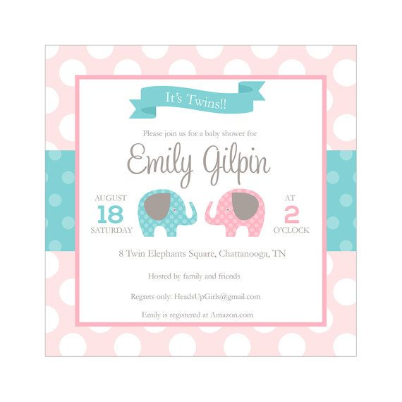 Set of 12 personalized square boy girl twins baby shower invitations set of 12 personalized square boy girl twins baby shower invitations with elephants in pink and aqua blue nv135a filmwisefo Image collections
