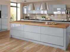 Ice Blue High Gloss Kitchen With Walnut Oak Kitchen Worktop