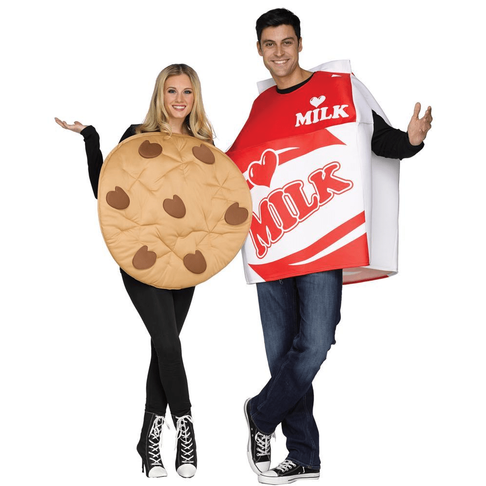 Couple Unisex Milk /& Cookie Costume Fancy Dress Halloween Party Funny Outfit
