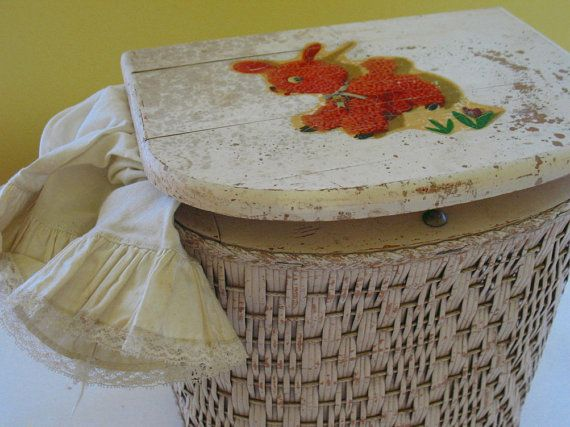 "Wicker Clothes Hamper  Vintage Child Size  Shabby by DivineOrders on Etsy - 5 Stars Buyer Review: ""Fantastic item!"""