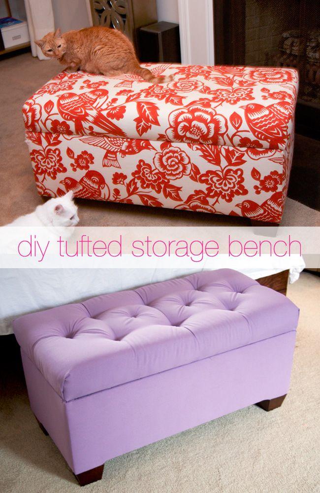 Peachy Glitter And Goat Cheese Diy Tufted Storage Bench Diy Frankydiablos Diy Chair Ideas Frankydiabloscom