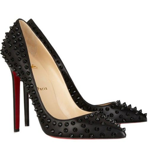 Discount Christian Louboutin Pigalle Spikes 120 Leather Pumps Black
