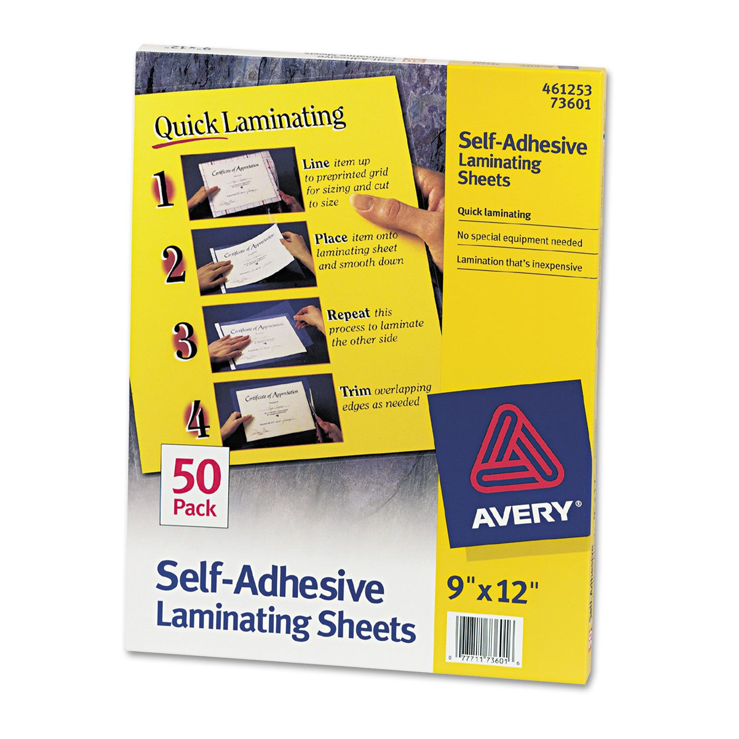 Avery Clear Self Adhesive Laminating Sheets 3 Mil 9 X 12 50 Box Best Laminate Adhesive Craft Supplies Online