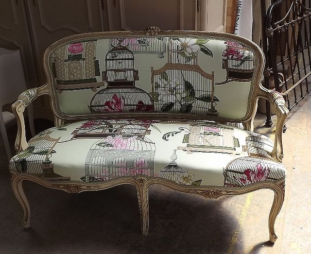 Beautiful Large Patterned Bird Cage Folie Fabric On Old French Sofa Reupholstered Frenchfinds