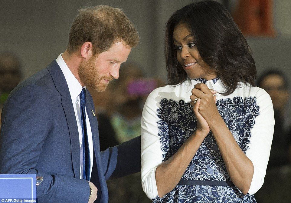 Prince Harry walks to White House to get support for Invictus - michelle obama resume