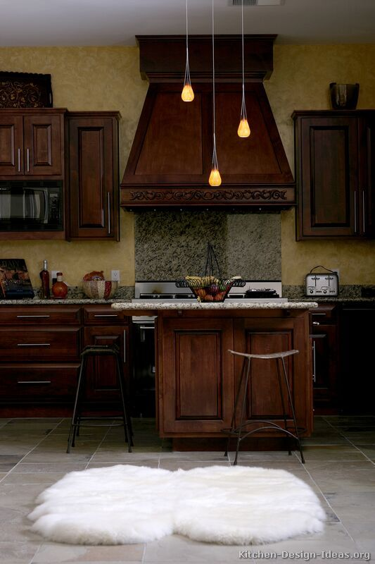 Traditional Dark Woodcherry Kitchen Cabinets #13 Kitchendesign Fascinating Dark Kitchen Designs Inspiration