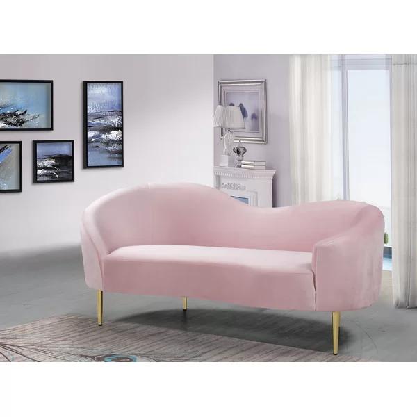 Ayva Curved Loveseat Pink Loveseat Love Seat Modern Loveseat