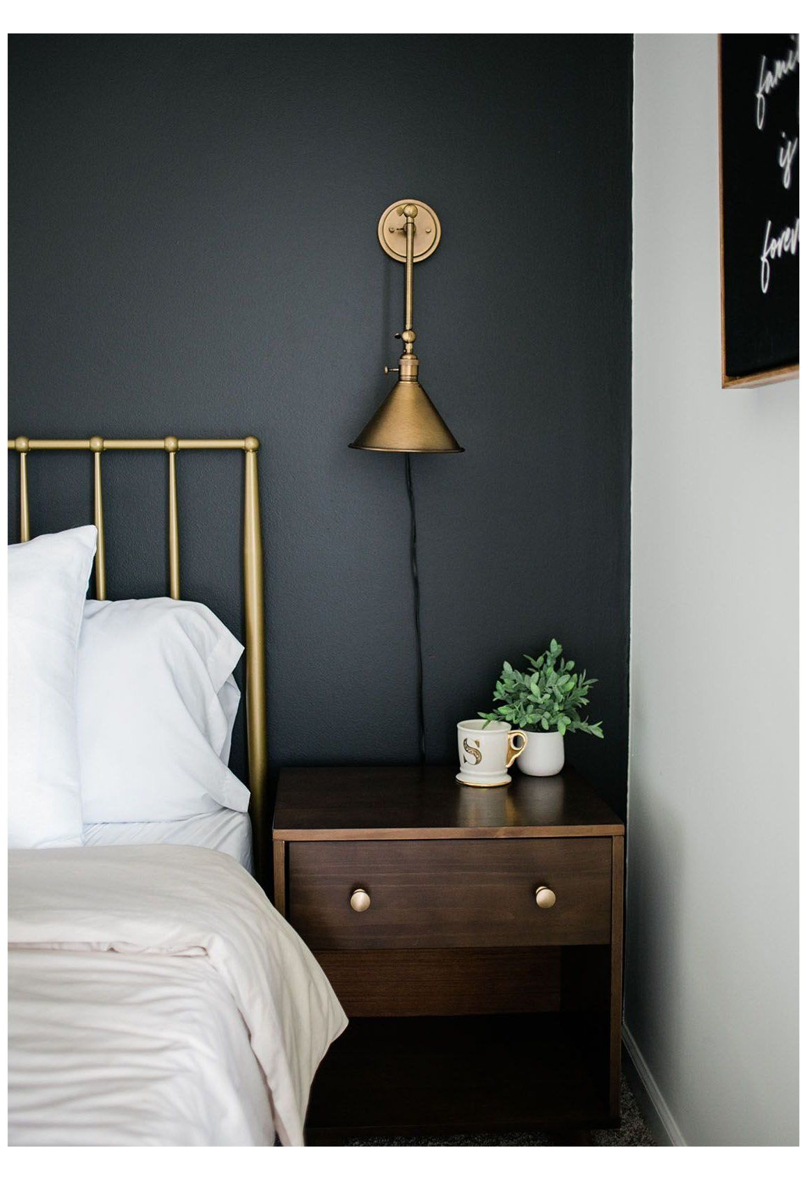 How To Style A Black Accent Wall In A Bedroom Clare Walnut Bedroom Furniture Decor Wall Guest Bedroom Inspiration Black Accent Walls Accent Wall Bedroom
