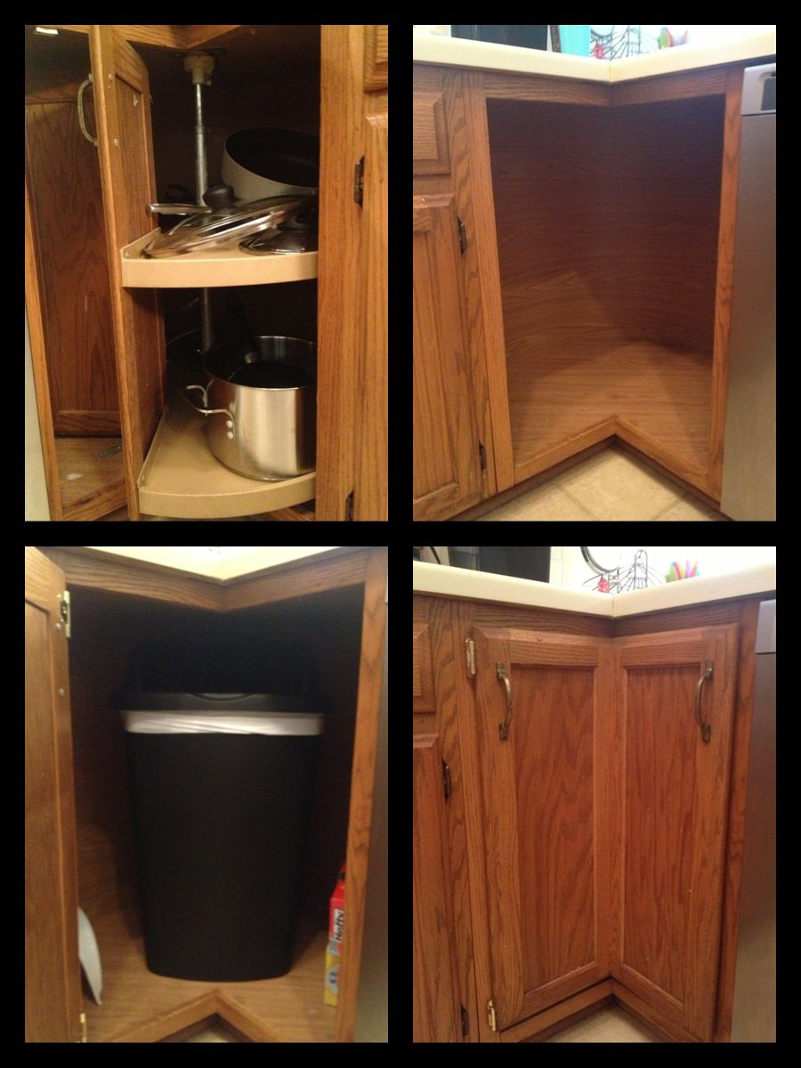 Broken Lazy Susan Turned Into A Trash Can Compartment First Remove Broken Lazy Susan Then By H Kitchen Cabinet Organization Cabinets Organization Lazy Susan