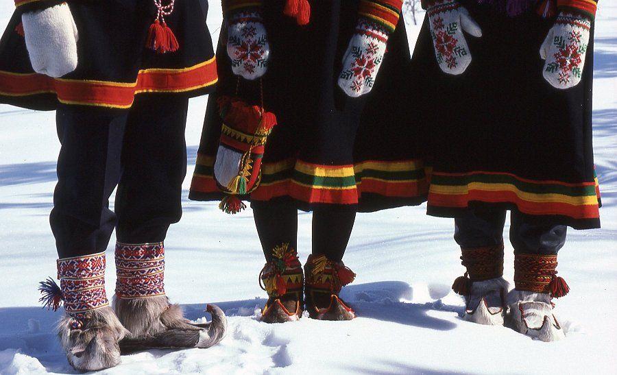 Native costume, Inari Sami people. Lapland, Northern Finland.
