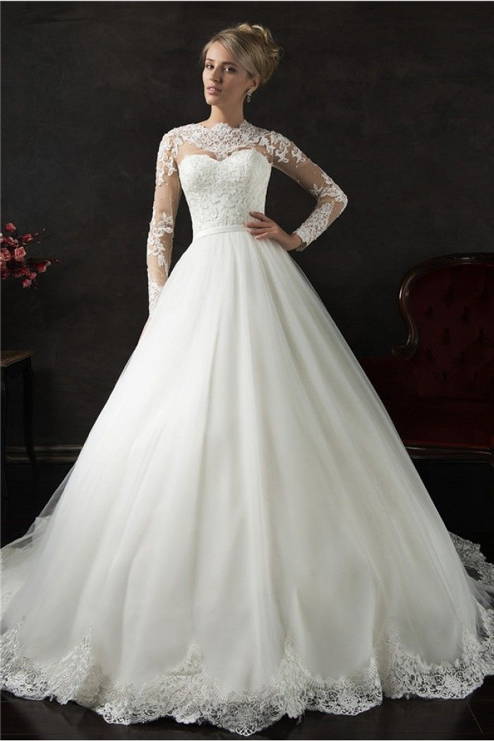 Romantic Ball Gown High Neck Long Sleeve Tulle Lace Wedding Dress ...