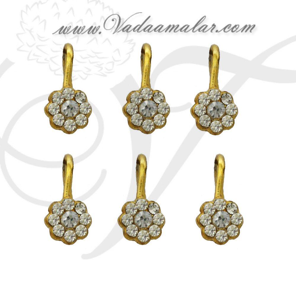 White Color Stones Bharatanatyam nose pin stud unpierced - 6 pieces