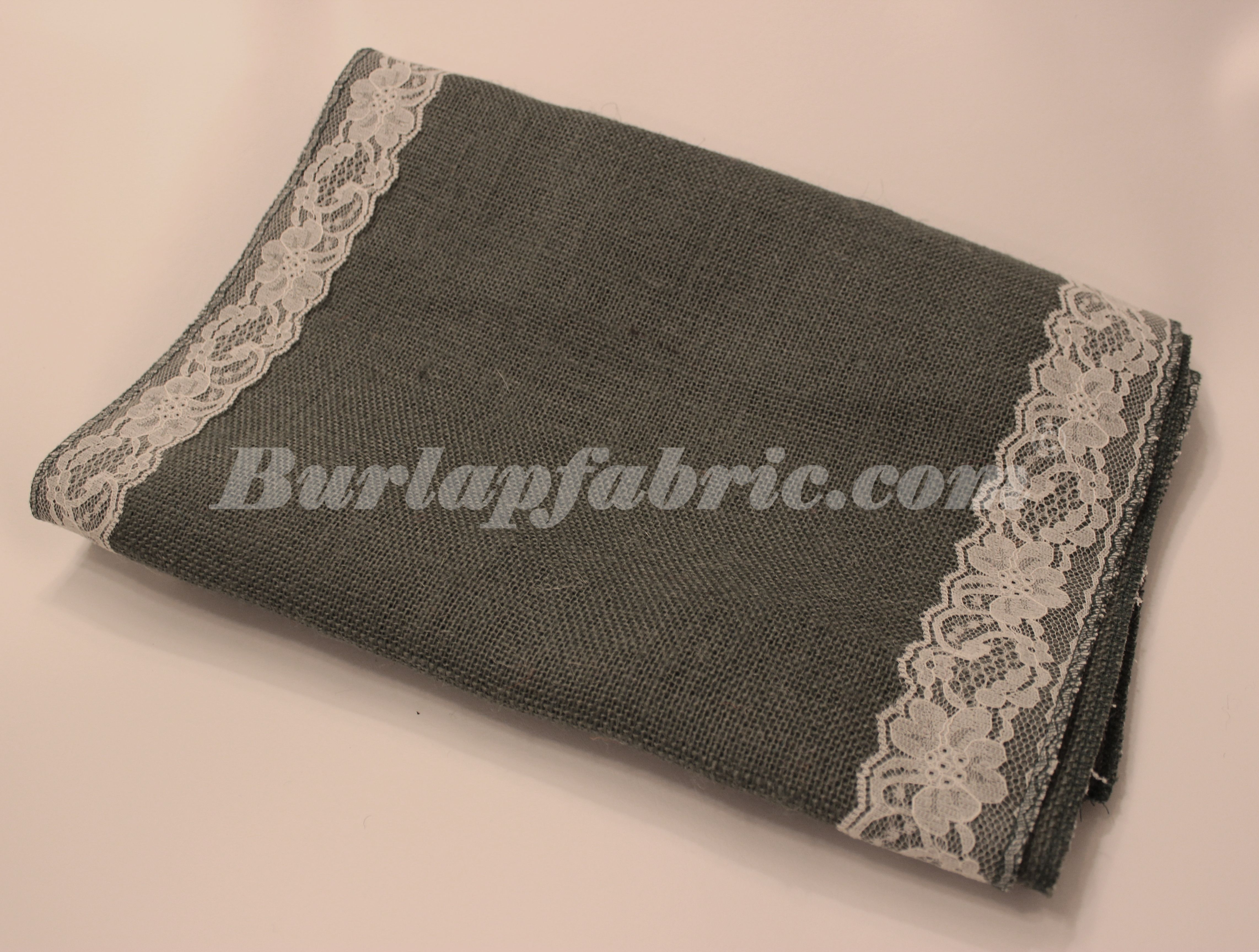 """14"""" Charcoal Grey Burlap Table Runner with 2"""" Ivory Lace Borders"""