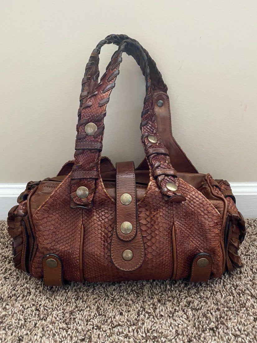 Chloé Silverado python skin bag. Dark tan color. Lightly