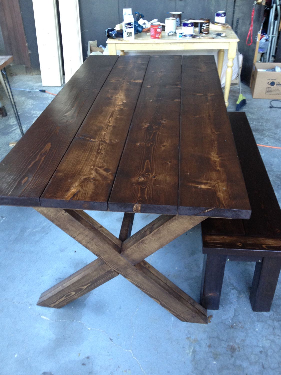 Hand Made Farmhouse Table With Cross X Legs Etsy Kitchen Table Legs Farmhouse Kitchen Tables Farm Dining Table