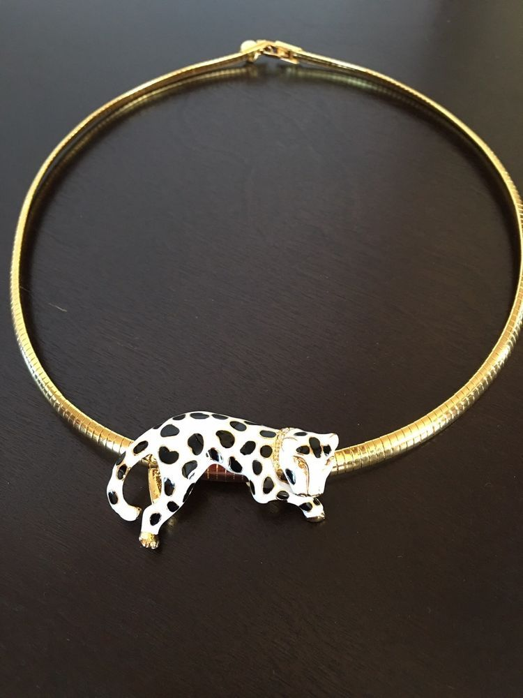 Vintage Signed KJL Kenneth Jay Lane Omega Necklace W/ White Leopard Slide #KennethJayLane