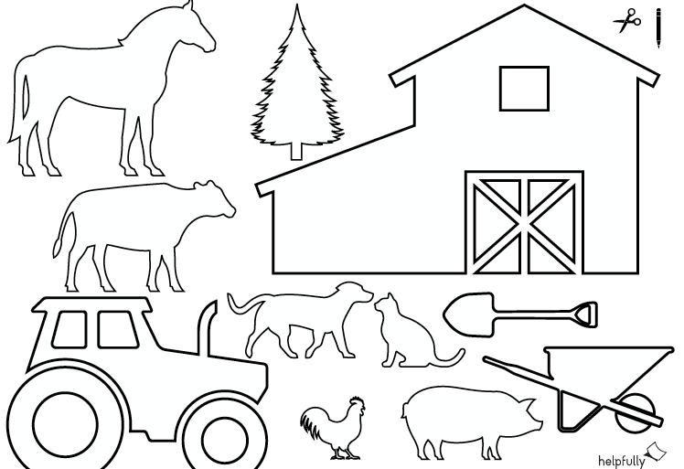 Ausmalbild Bauernhof Traktor Tiere Zum Ausschneiden Vorlage 1 Ausmalbild Ausmalen Ausdrucken