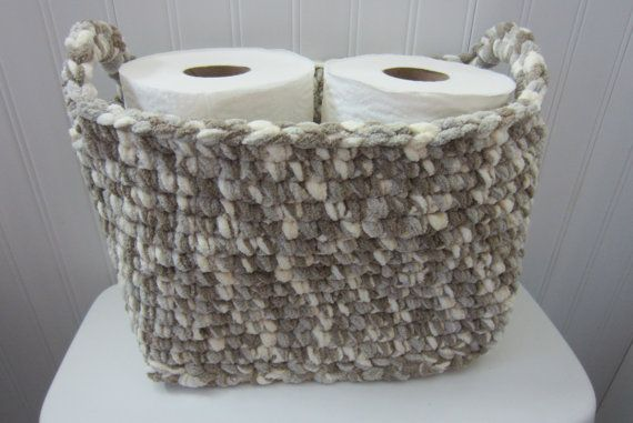 Large Basket Rectangle Crocheted Storage Bin Toilet Tank Topper Storage For Toilet Paper Diapers In Baby S Room Magazines Books Dvds Decoracion De Unas Ganchillo Utensilios